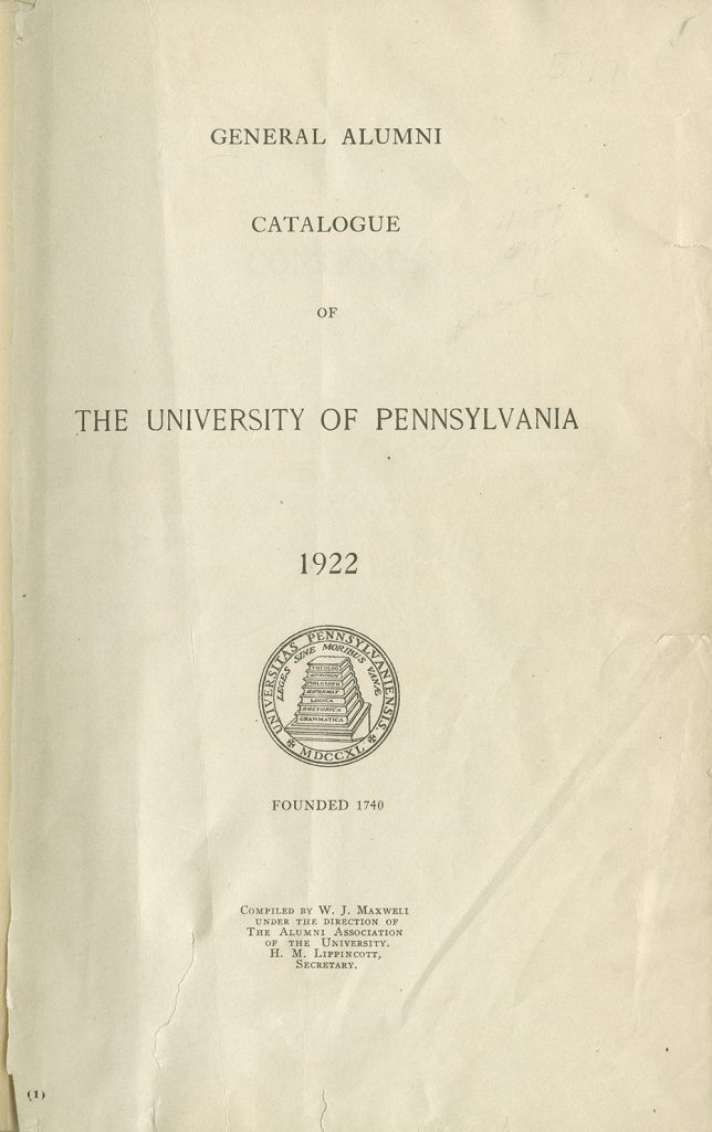 General Alumni Catalogue of the University of Pennsylvania (1922), cover
