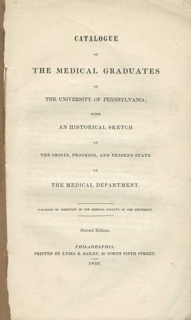 Catalogue of the Medical Graduates of the University of Pennsylvania, 1839, cover