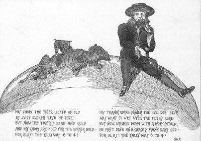 Cartoon featuring Penn Quaker and Princeton Tiger mascots